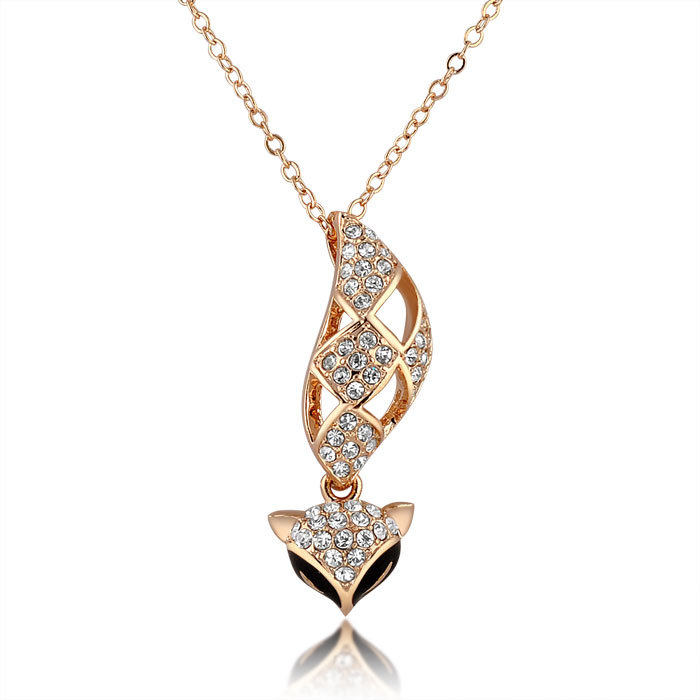 Fashion Jewelry Gold Crystal Pendant Necklace with Fox Design