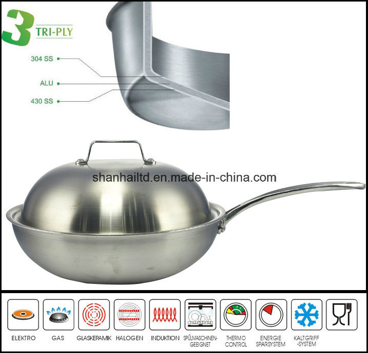 Cookware Traditional Wok 3 Ply Chinese Wok