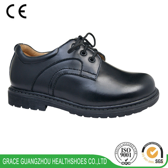 Grace Ortho Children Black Leather School Shoes Preventing Flat Foot