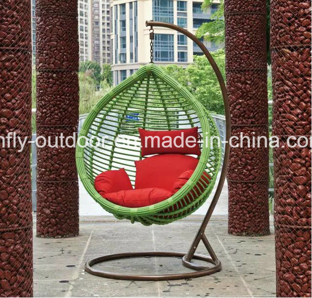 New Design Balcony Big Round Rattan Swing Chair with Stand