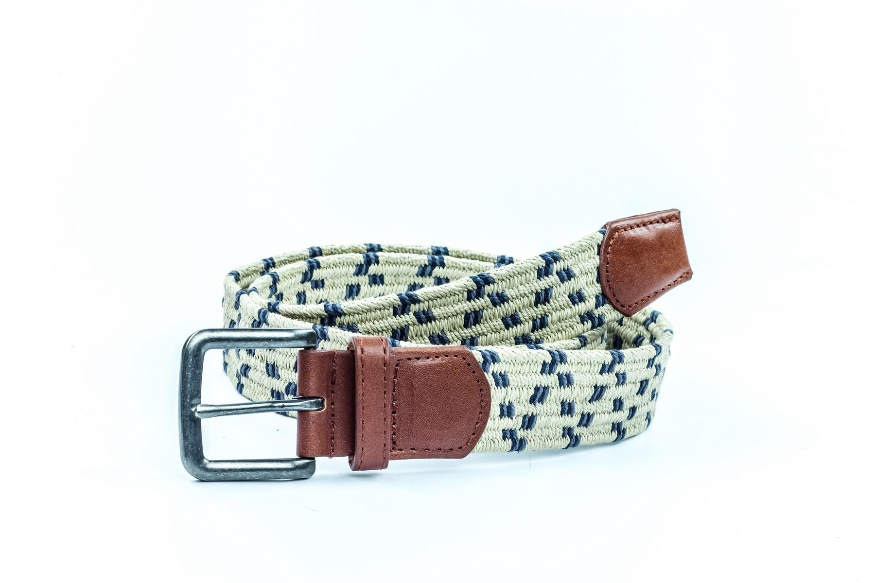 New Fashion Men′s Elastic Woven Fabric Leather Belt