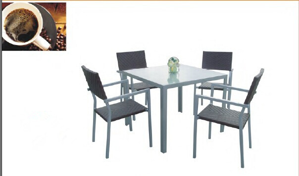 Grey Square Outdoor Rattan Furniture with 5 PCS
