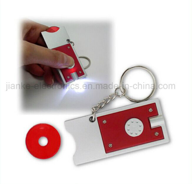Promotional Custom LED Flashing Light Coin Keychain with Logo Printed (4067)