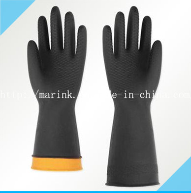 D-2 Black and Orange Industrial Natural Latex Rubber Glove