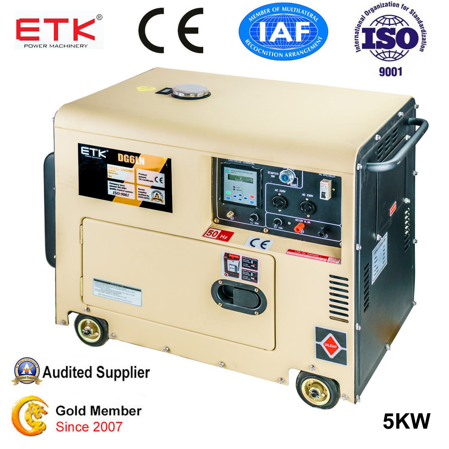 China 5kw Air Cooled Single Cylinder Silent Portable Power Diesel