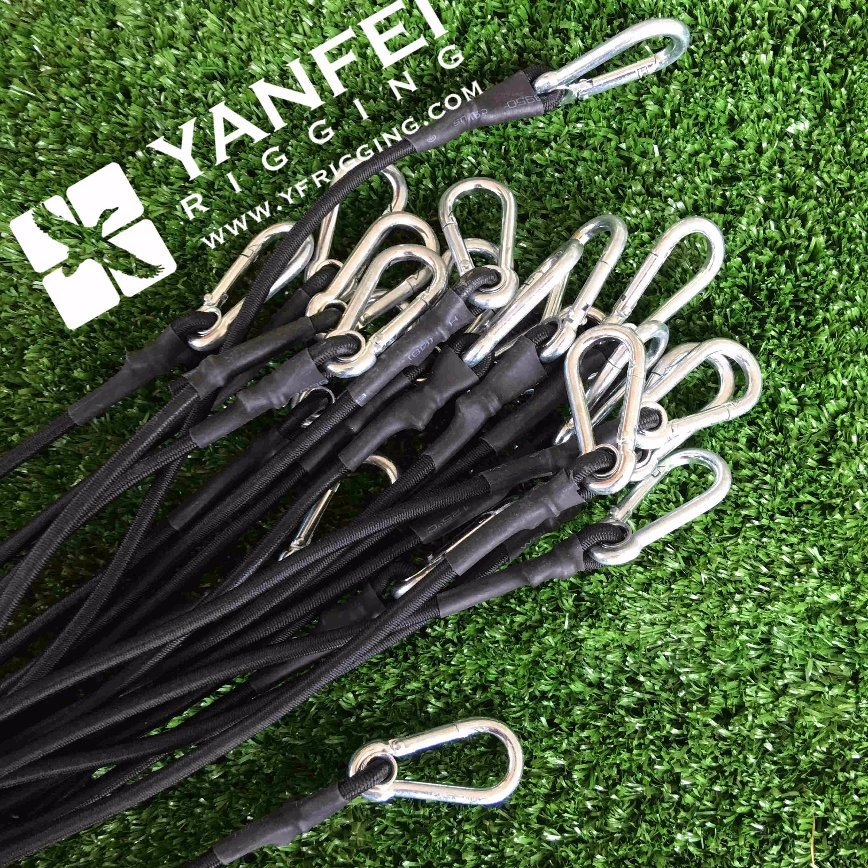 Elastic Bungee Cords with Galvanized Snap Hook and Eyelet