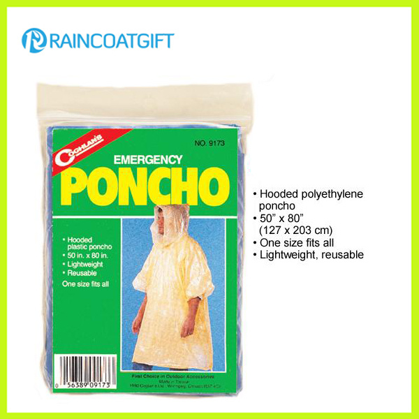 Cheap Disposbale PE Rain Poncho Rpe-028