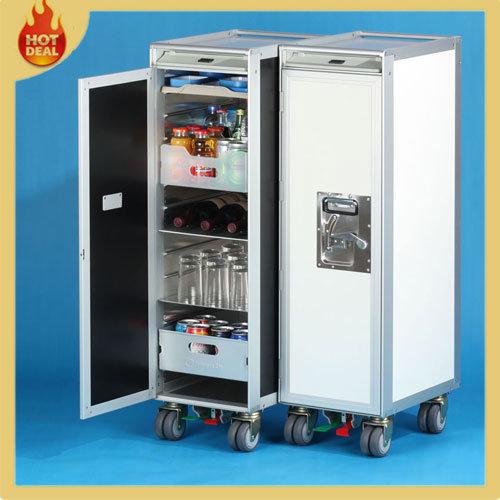 Half Size Aluminum Alloy Aviation Inflight Meal Trolley Cart