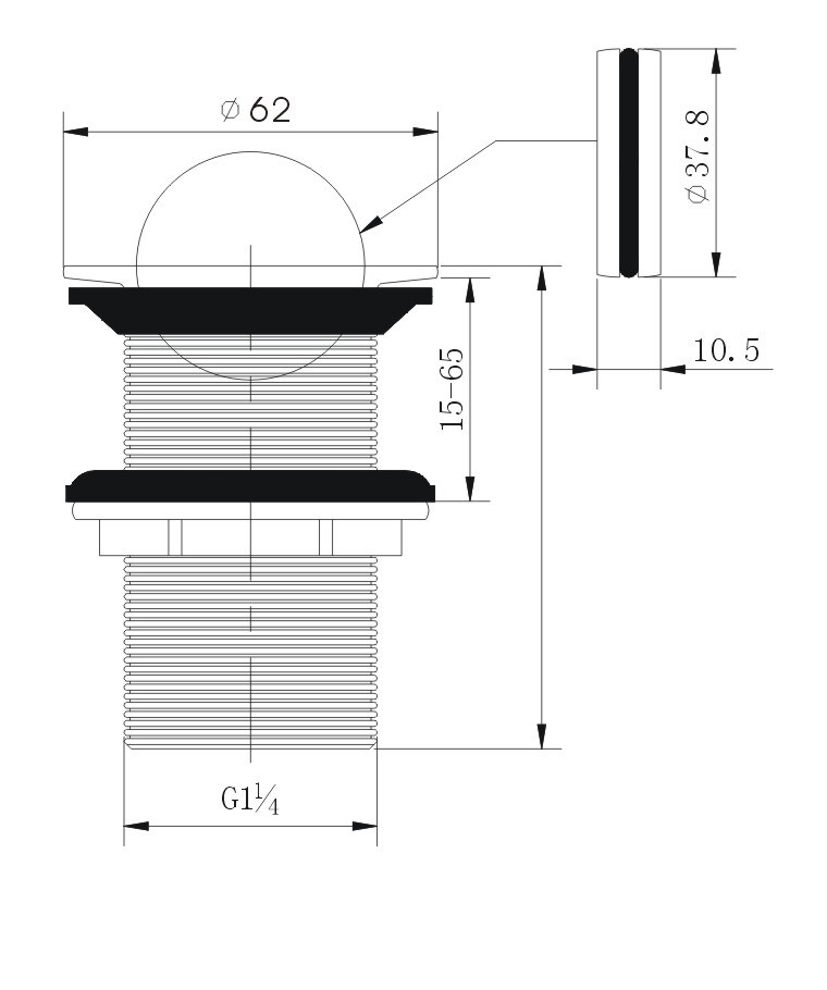 Rotating Top Brass Basin Waste Strainer (unslotted)
