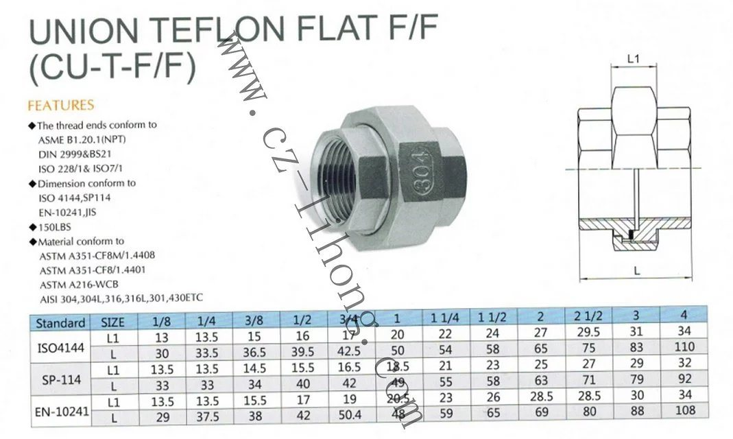 "1/2"" Stainless Steel 316 DIN2999 Union Flat F/F"