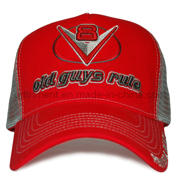 Contrast Thick Stitching Print Embroidery Sport Baseball Trucker Hat (TRT015)