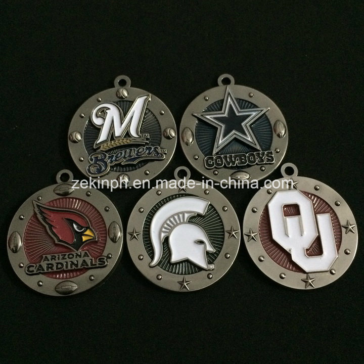 Zinc Alloy 3D Metal Medals with Black Nickel Finish