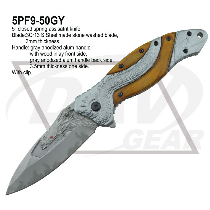 "5""Closed Spring Assistant Fantasy Dragon Knife with Steel Blade (5PF9-50GY)"