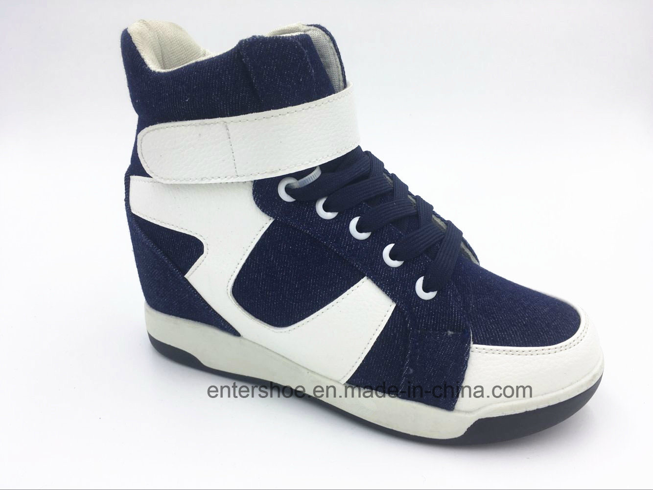 Canvas Lace up Ladies Height-Increasing Shoes (ET-XK160235W)