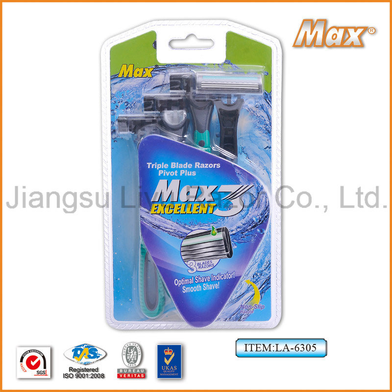 High Cost-Effective High Quality Popular in Brazil Compete with Stainless Steel Blade Disposable Razor (LA-6305)