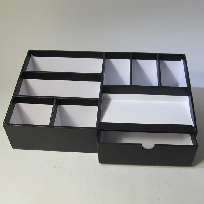 Multifunctional Black Paper Desktop Organizer with Drawer