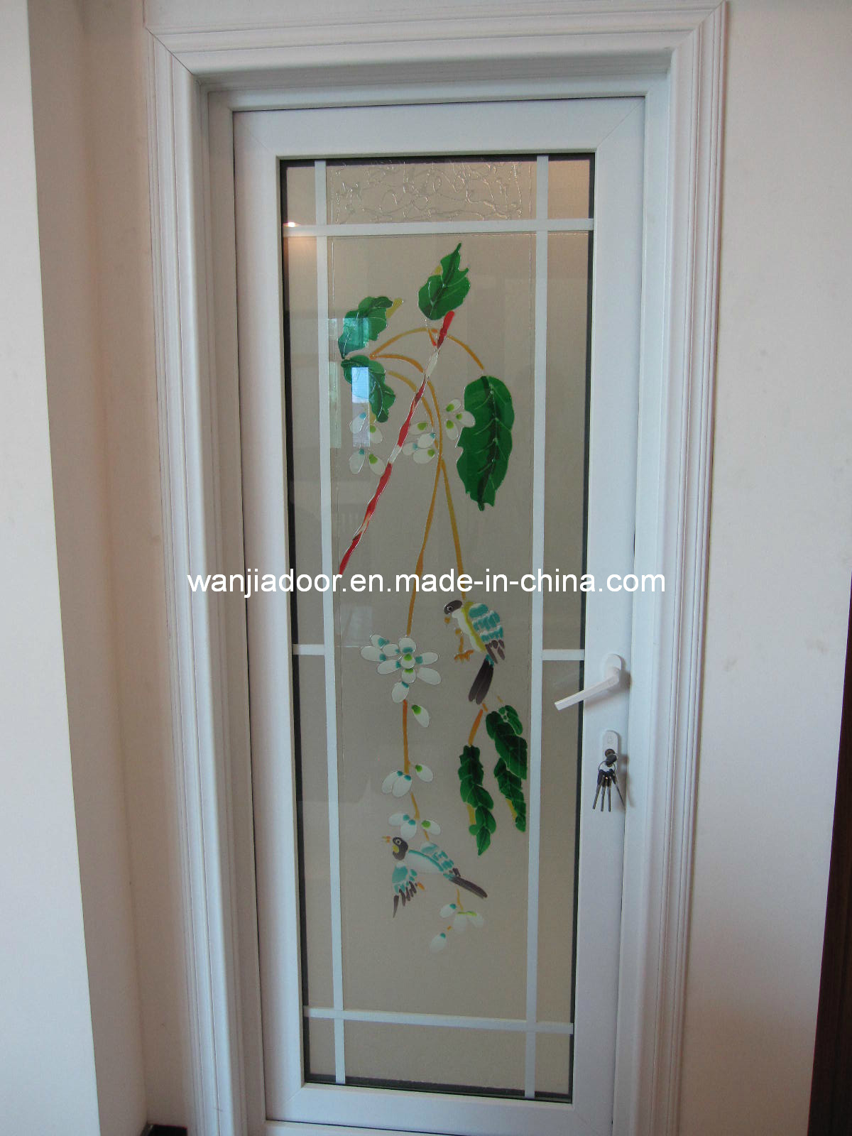 China wanjia pvc door wj p d016 photos pictures made in Bathroom glass doors design