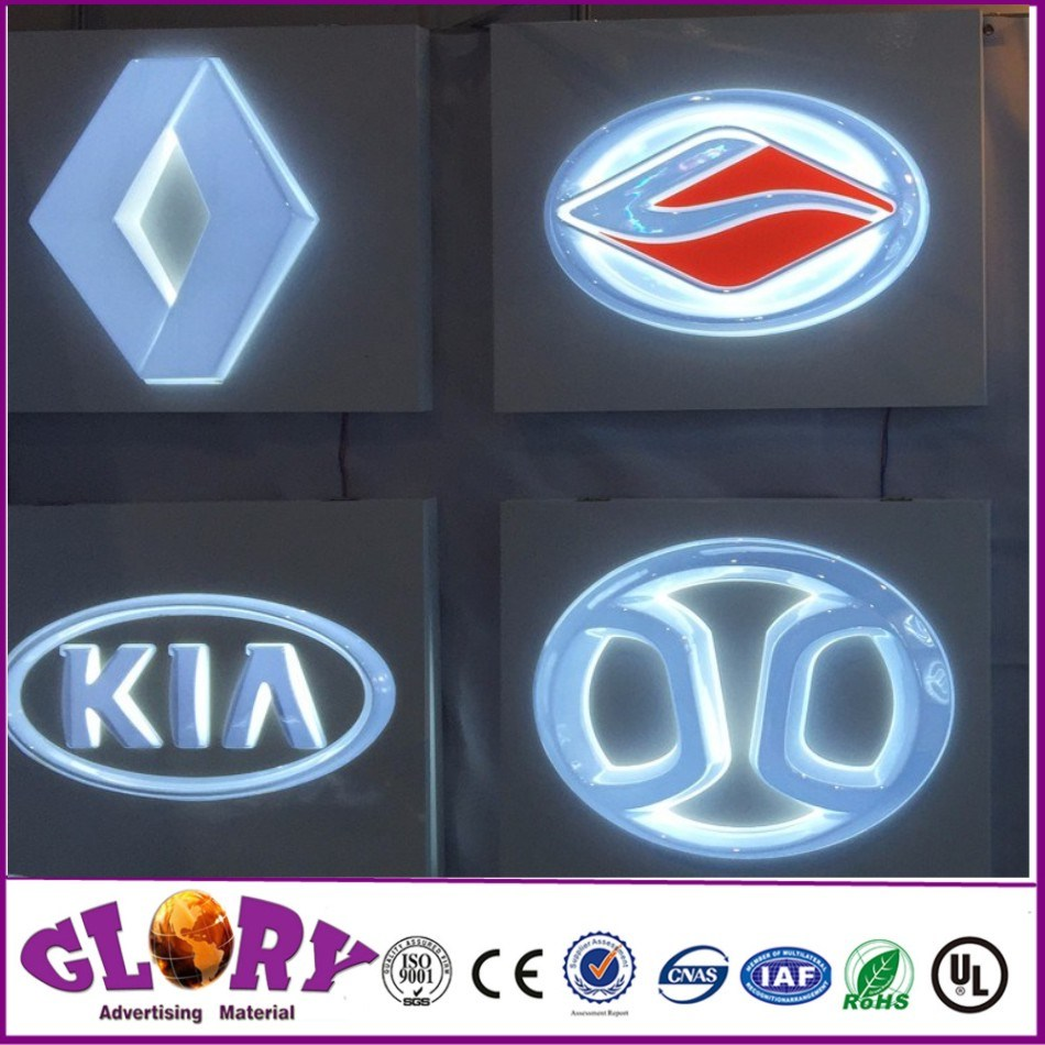 Brand Steel Letters Back Light Car Logo Signs/3D Car Logo