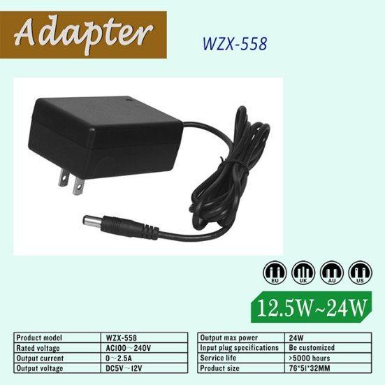 Customized 24W 5~24V DC AC Laptop Adapter