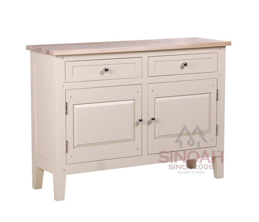 China White Painted Wooden Furniture Cream Painted Buffet Oak Wood Sideboard China Sideboard
