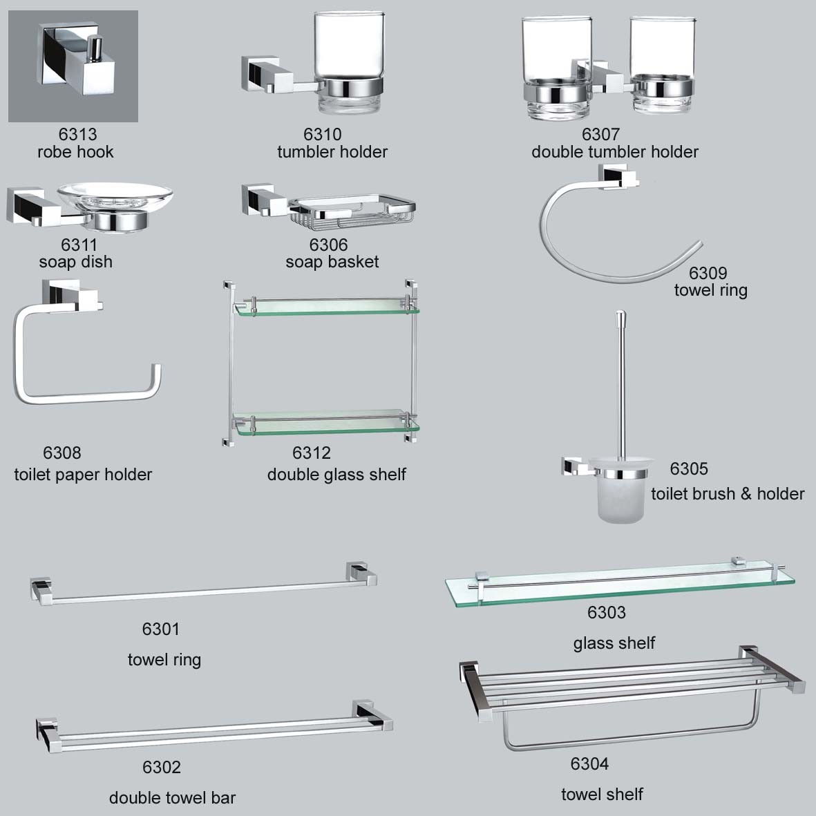 China bathroom accessories 6300 china bathroom for Bathroom fittings