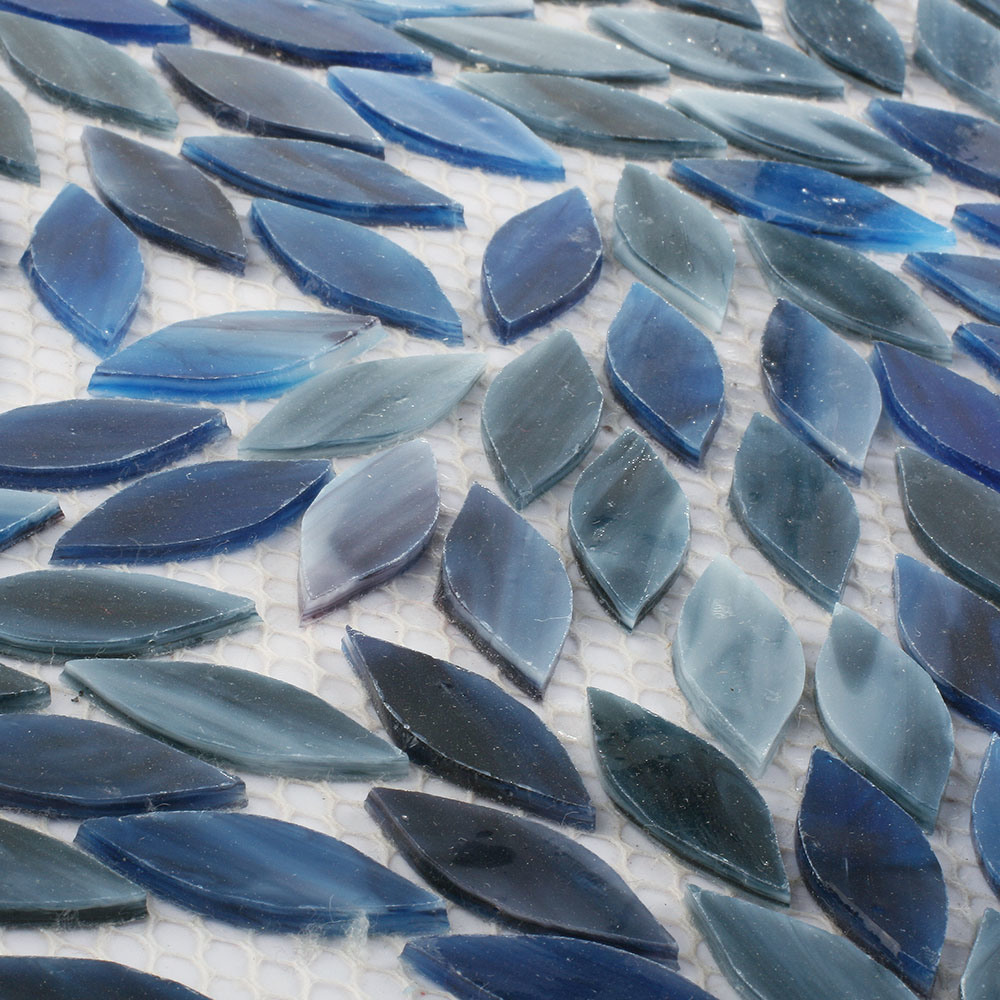 Wholesale Natural Blue Color Art Wall Stained Glass Mosaic Tile