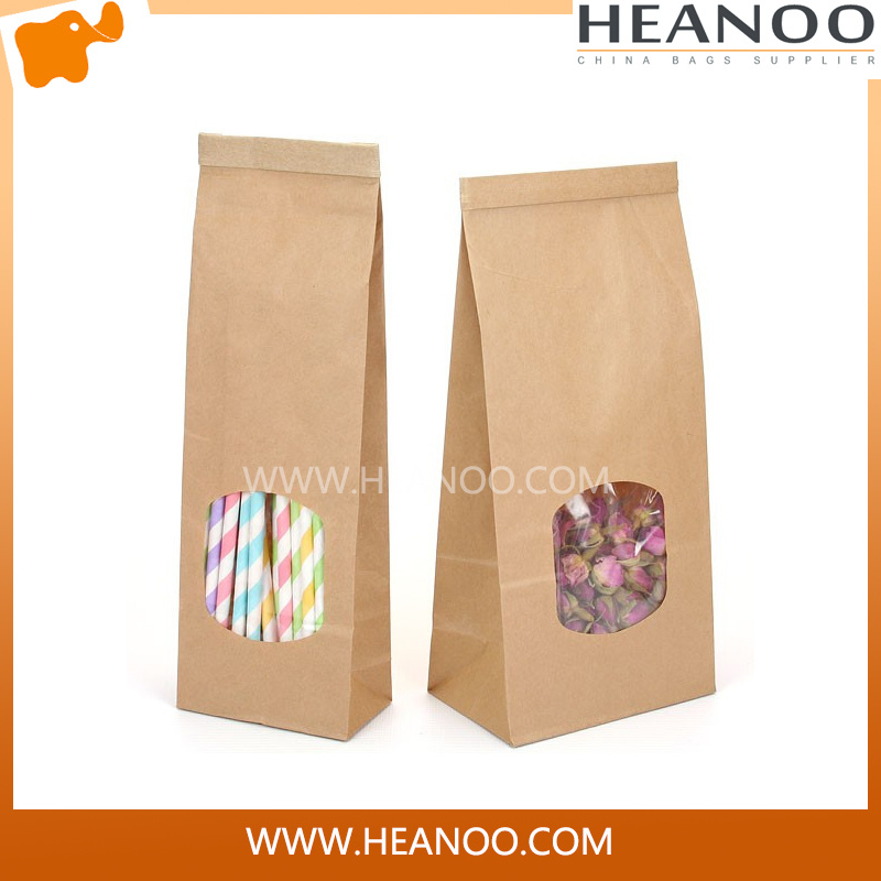 Luxury Custom Brown Kraft Paper Bags with PLA Window