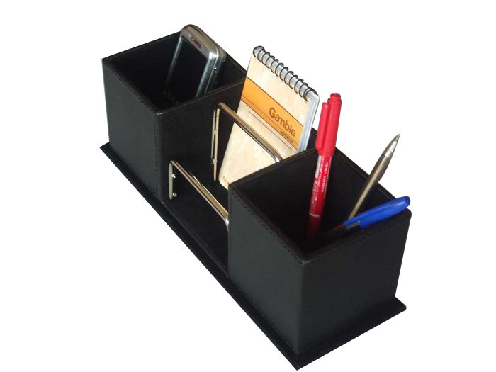 China leather metal office desk organizer set a09 019 - Desk organizer sets ...