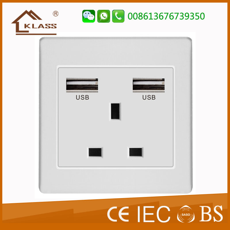 British Standard 1 Gang International 13A Socket with Switch
