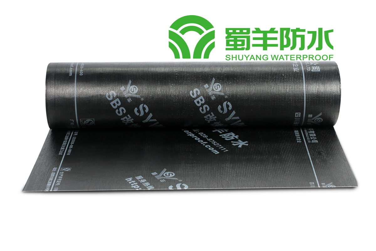 Grade II 3mm SBS Waterproof Membrane PE Film Surface Polyester Reinforced
