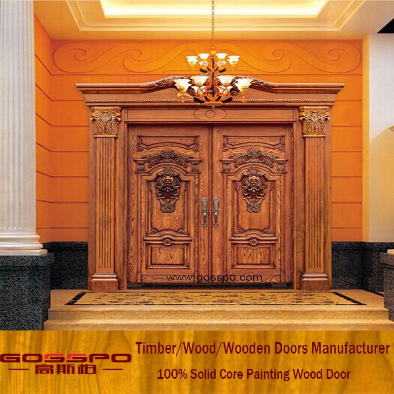 Solid Teak Wood Door Front Entry Double Door for Villa (XS1-026)