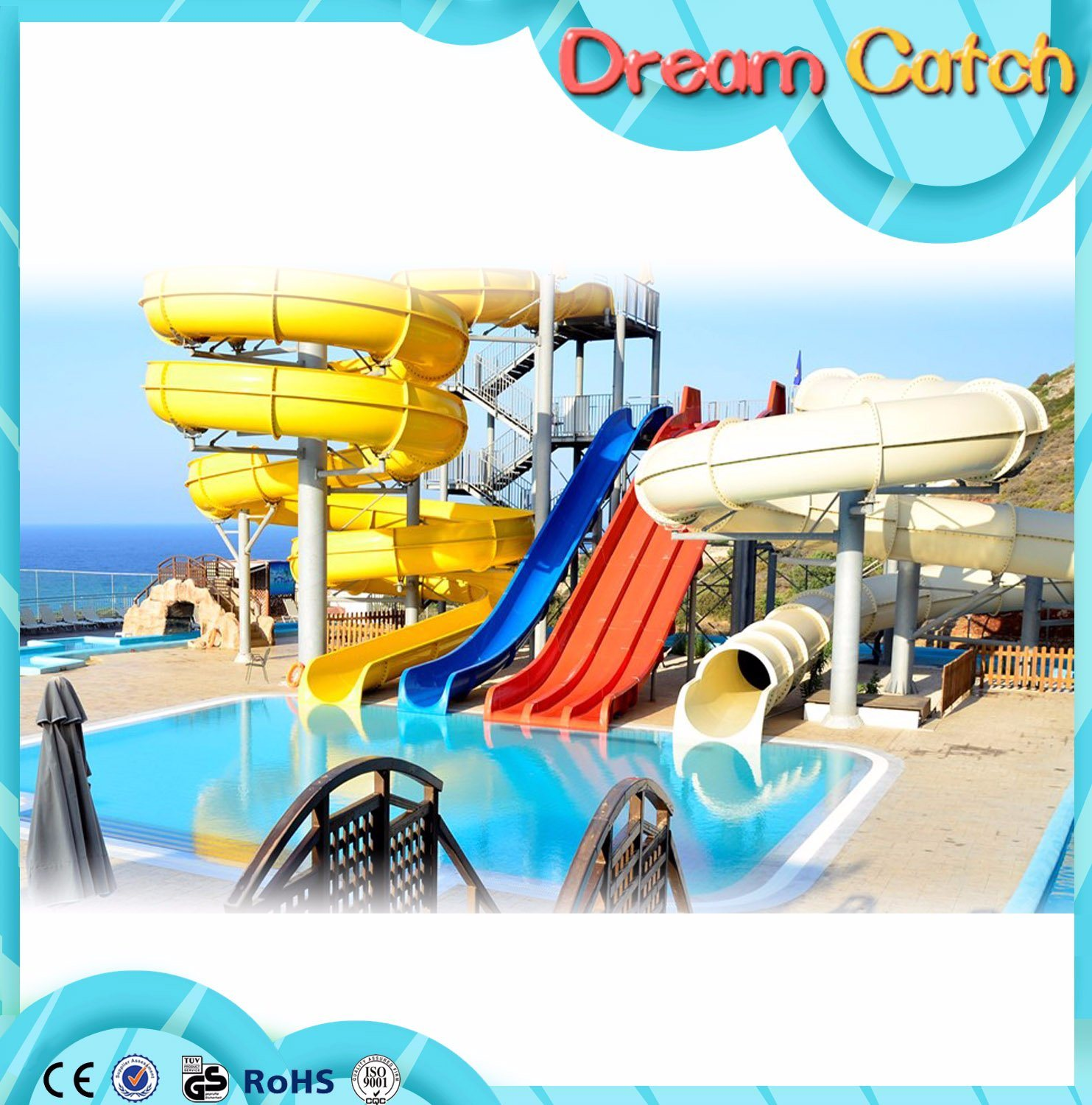 Colorful Race Water Slide Used for Water Park