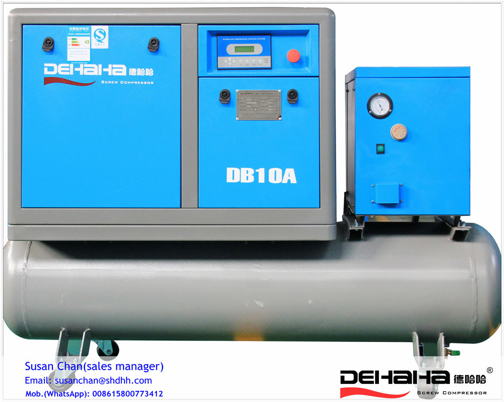 11kw AC Power Tank Combined with Air Dryer Screw Air Compressor
