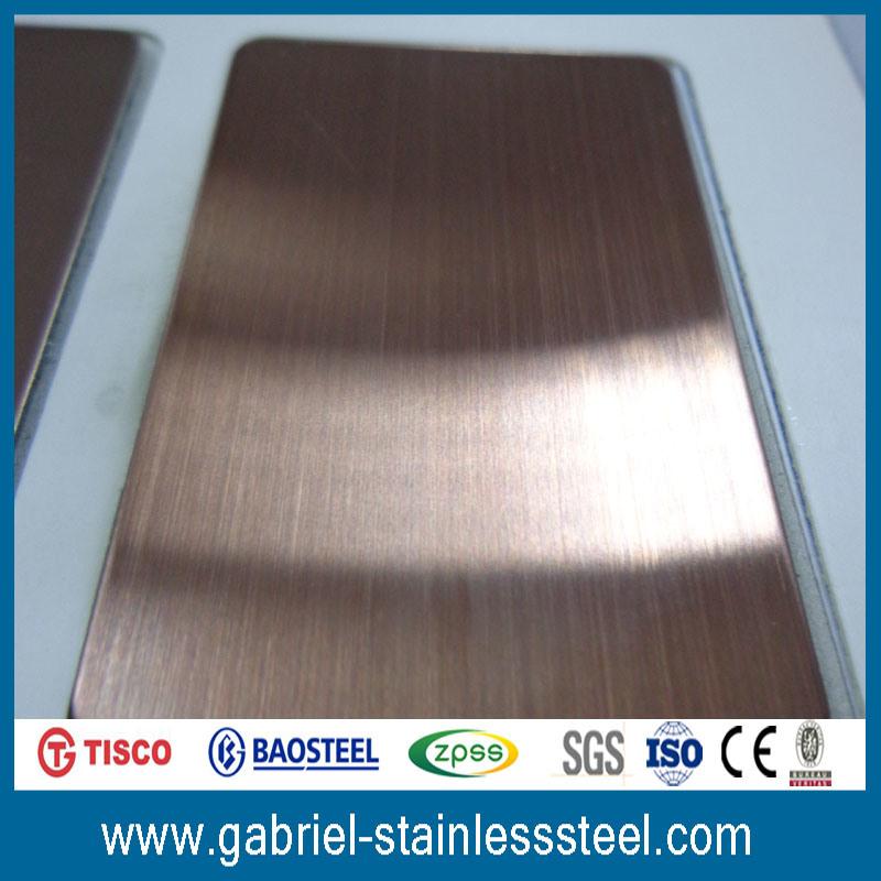 Rose Gold Hairline 0.5mm Stainless Steel Sheet 316