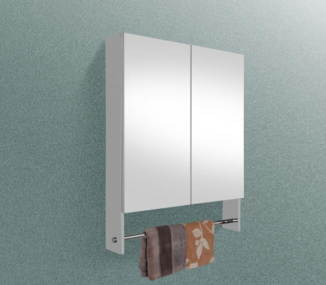 Stainless Steel 2 Mirror Doors Cabinet with Shelf