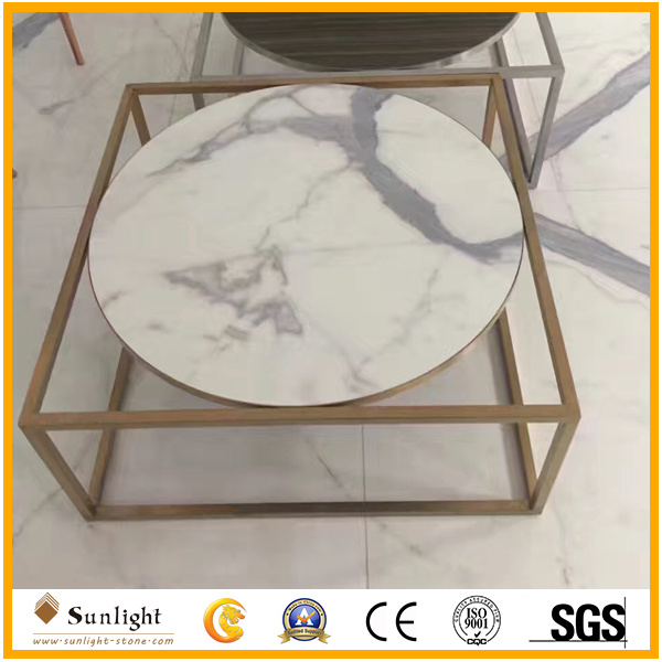 Polished Italian Calacatta White Marble for Countertops, Tiles, Table Tops