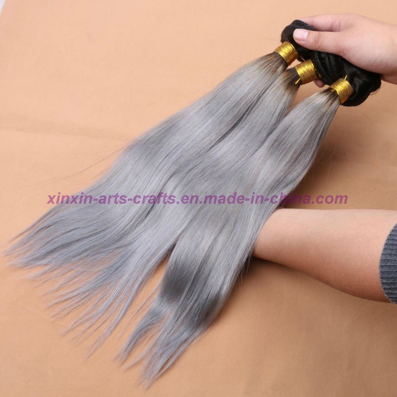 8A Silver Grey Ombre Human Hair Extensions Grey Straight Hair Two Tone Ombre Virgin Grey Malaysian Hair Weft