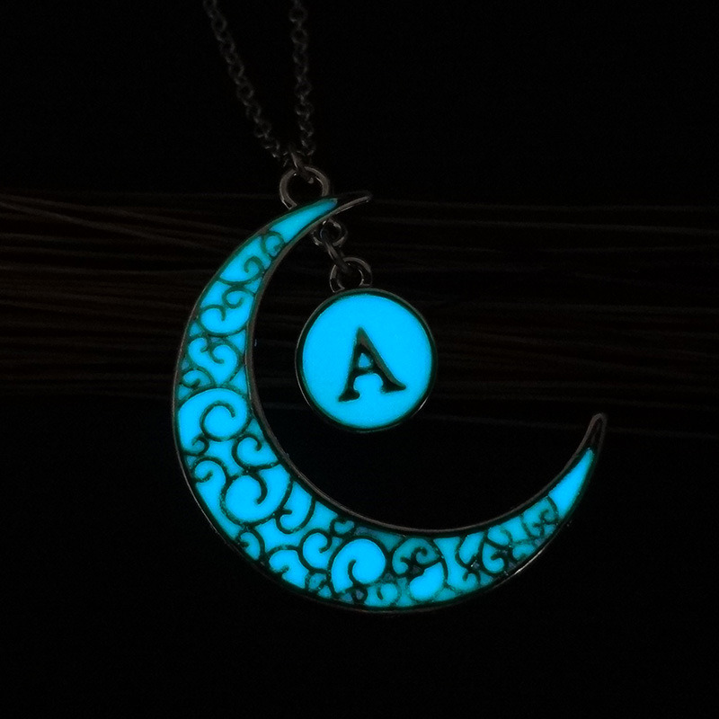 DIY Glowing Jewelry Gift Magice Moon Pendant Necklace Glow in The Dark