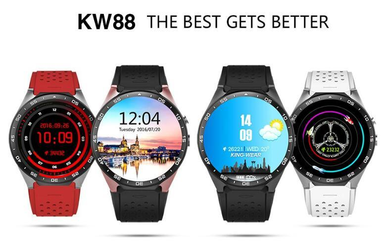 "Kw88 Android 5.1 Quad Core 1.39"" 4GB ROM Smart Watch Phone Rose Gold"