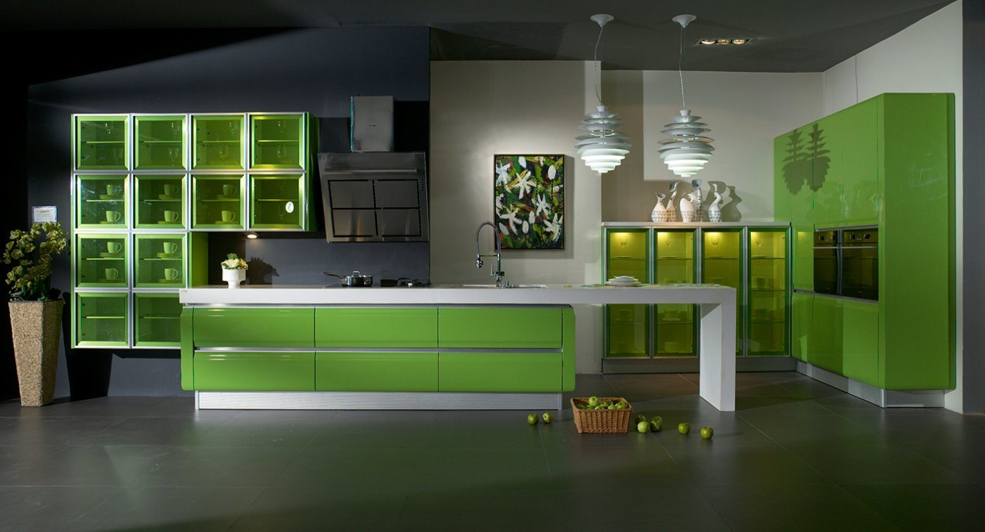 Green High Gloss Lacquer Kitchen Carbinet Furniture