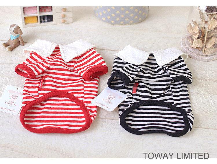 Customized Stripes Tie Sailor Design Dog Clothes Colleague Pet Shirt