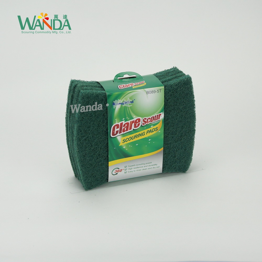 Strong Cleaning Bow-Tie Scourer Pad Shape Abrasive Green Scouring Pad