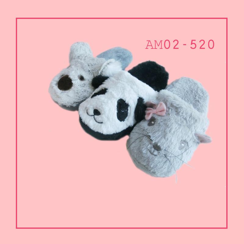 Winter Warm Beautiful Indoor Bedroom Plush Animal Slippers TPR