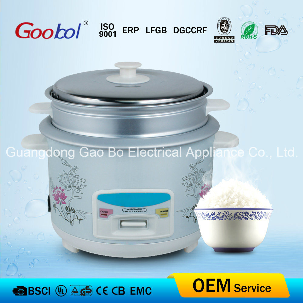Steel Lid & Aluminum Steamer Rice Cooker with Straight Body