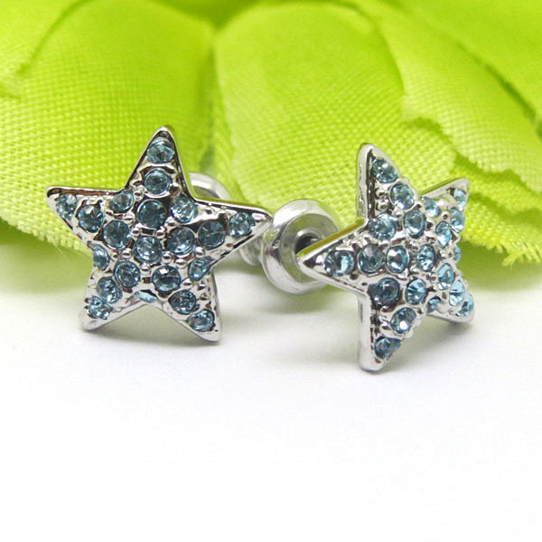 Wholesale Silver Alloy Pave Crystal Star Stud Earrings