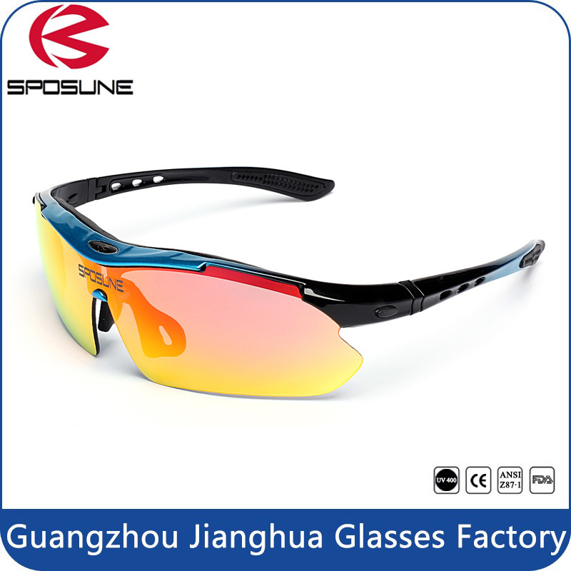 2017 Iridium Lenses Fashion Cycling Sunglasses with Your Logo Bulk Buy Driving Sun Glasses Interchangeable Temple Volleyball Golf Eyewear