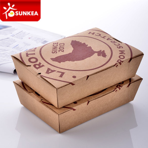 Wholesale Custom Logo Printed Disposable Fast Food Lunch Paper Packaging Box