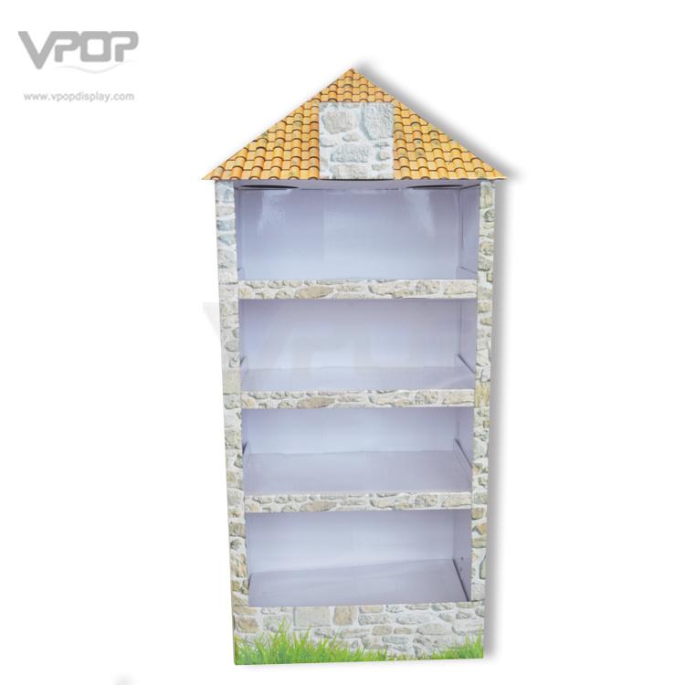 Creative House Look Cardboard Display Shelf with Metal Rods