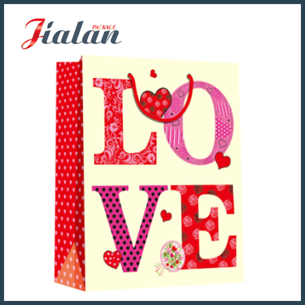 Wholesales Fashion Custom Design Logo Printed Valentine`S Day Paper Bag