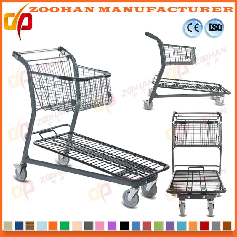 Twin Basket Zinc Plated Metal Supermarket Shopping Trolley Cart (Zht191)
